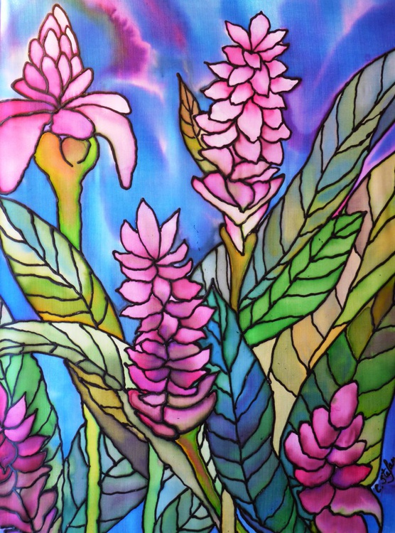 Tropical Flowers (Painting on Silk) - Image 0
