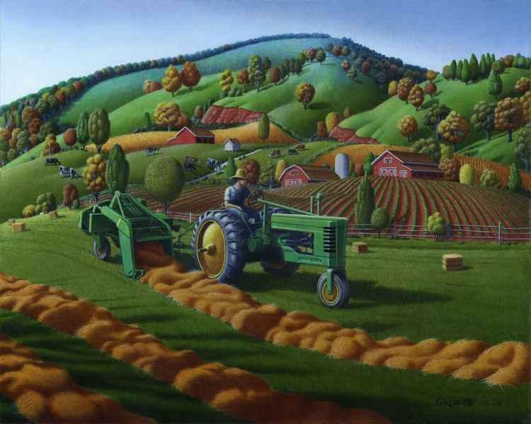 Old John Deere Tractor Baling Hay -