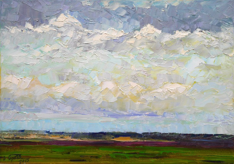 The Sky and the Field, winter! (palette knife) - Image 0