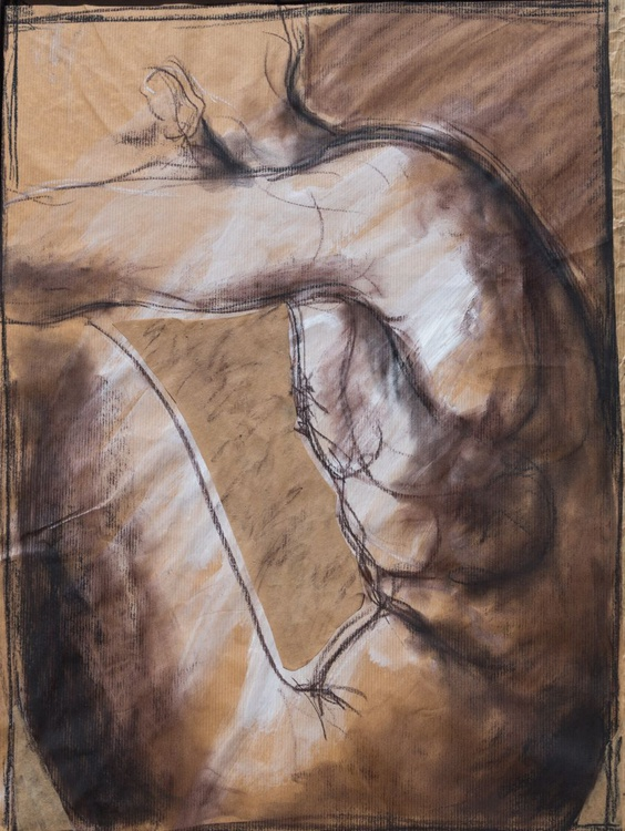 Nude sitting, profile view - drawing unframed - Image 0