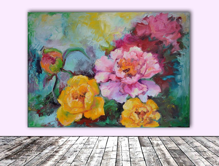 Flowers - Modern Ready to Hang Floral Oil Painting - FREE SHIPPING - Image 0