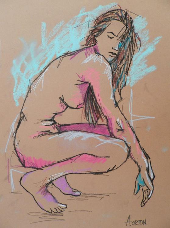 Female Nude Art Figure Study Original Pastel Charcoal Life Drawing - Image 0