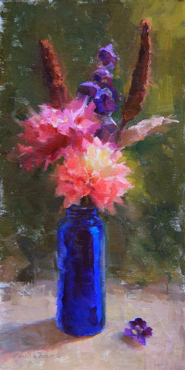 Market Melody - Still Life with Dahlias and Cattails - Image 0