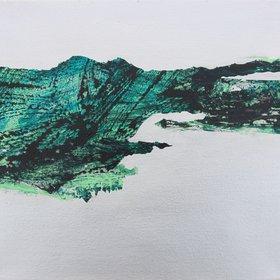 """Silver River Landscape, 30/30 cm, 2016"" by Kaliya Ka"