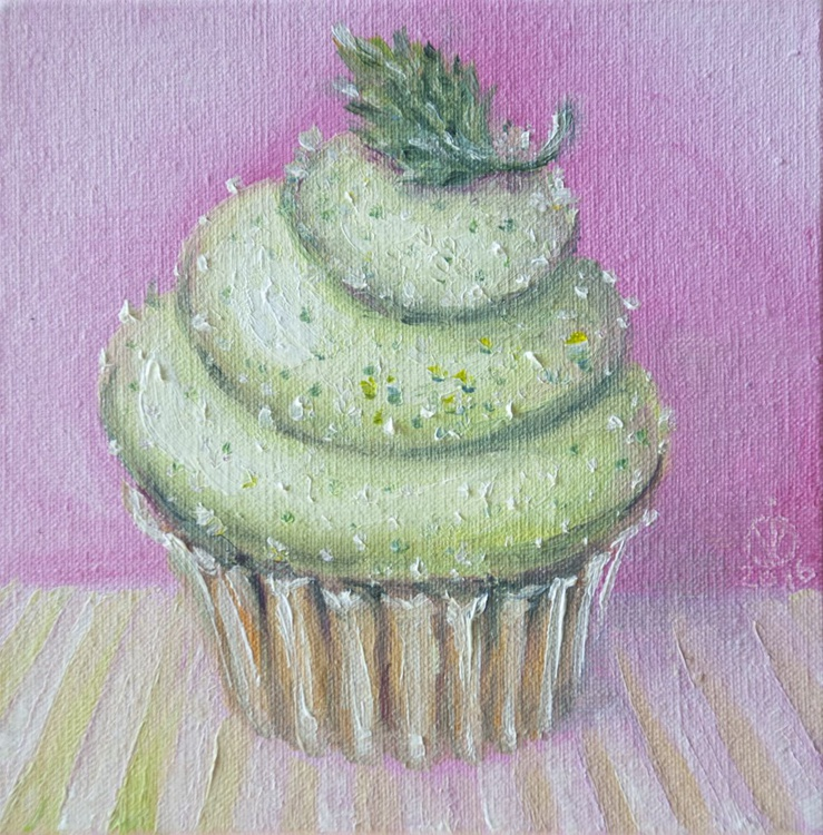 Mint Muffin (10x10 cm) original oil painting little still life yummy realistic small gift kitchen decor - Image 0
