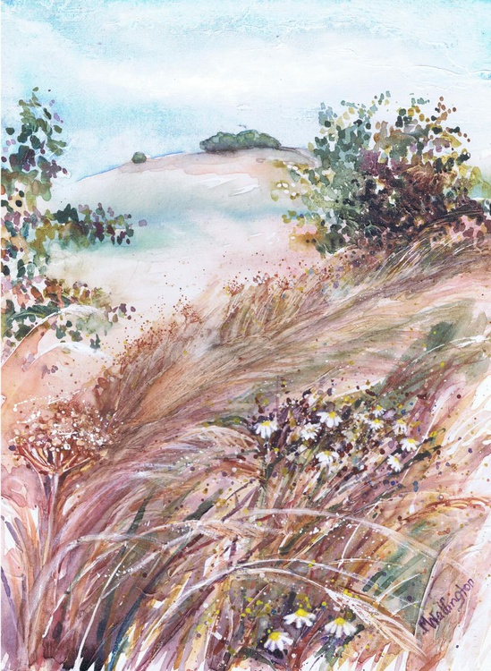 Wild Daisies and Grasses by the Track - Image 0