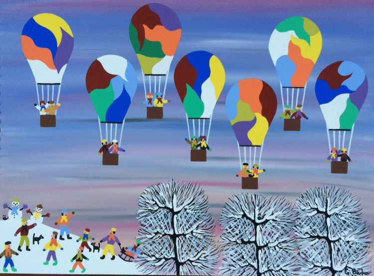 Balloons on a snowy day -