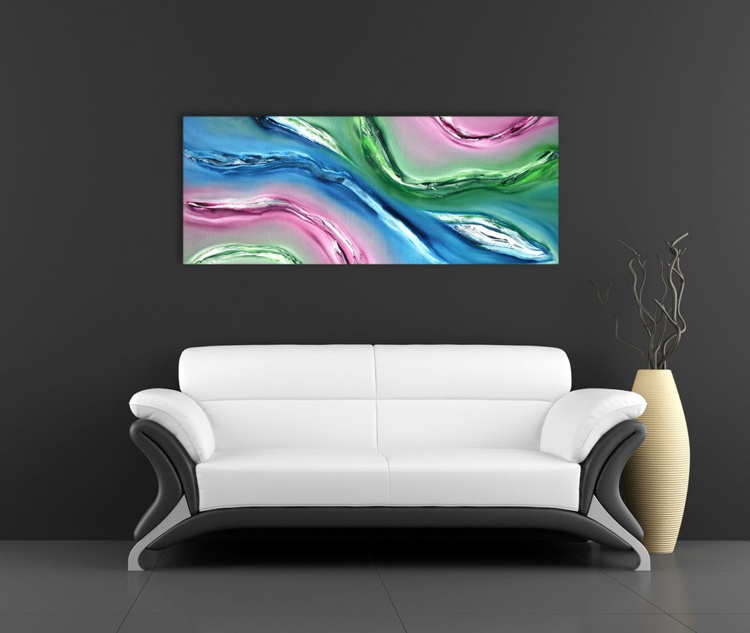 Fluid - 100x40 cm,  Original abstract painting, oil on canvas - Image 0