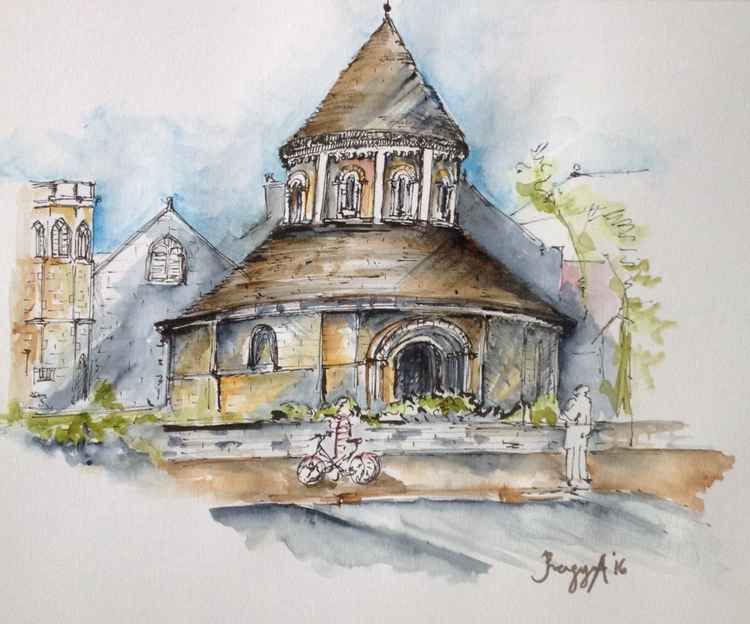 Round Church, Cambridge, Original Drawing -