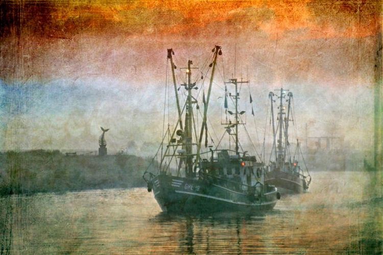 At Dawn in the Harbour - Canvas 75 x 50 cm - Image 0