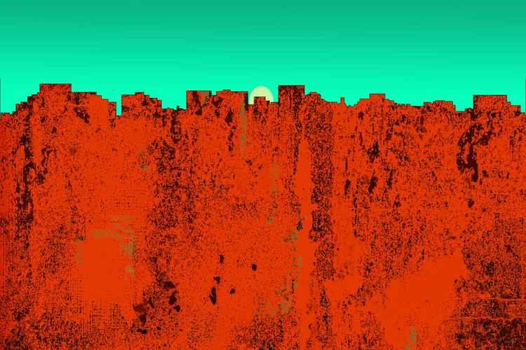 Hobart, Tasmania Australia Skyline -Red -