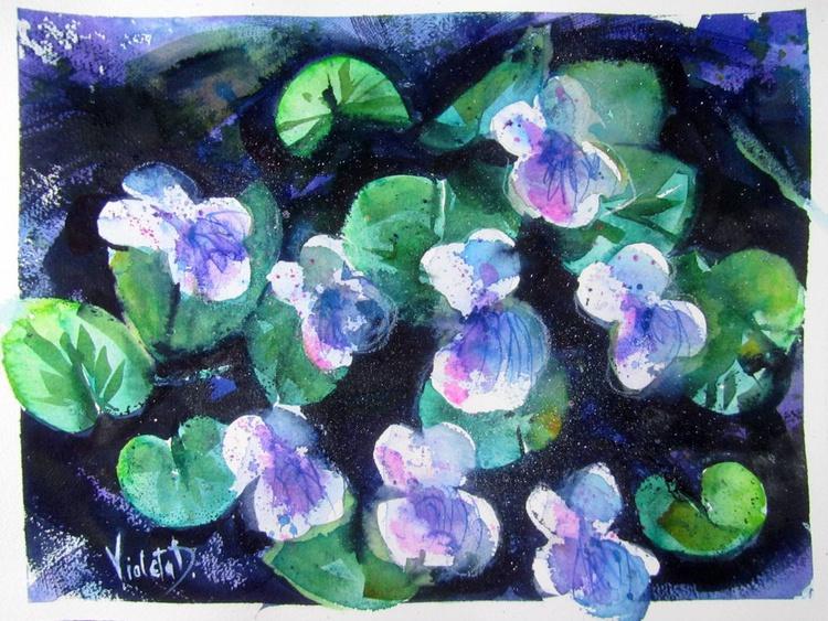 Blue Violets at Night - Image 0