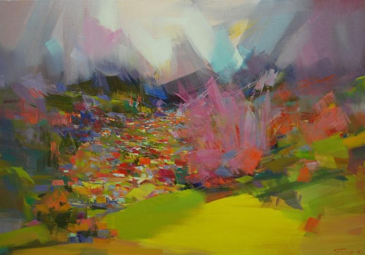 "Colorful Landscape Painting, "" Mountainous Spring "" - Image 0"