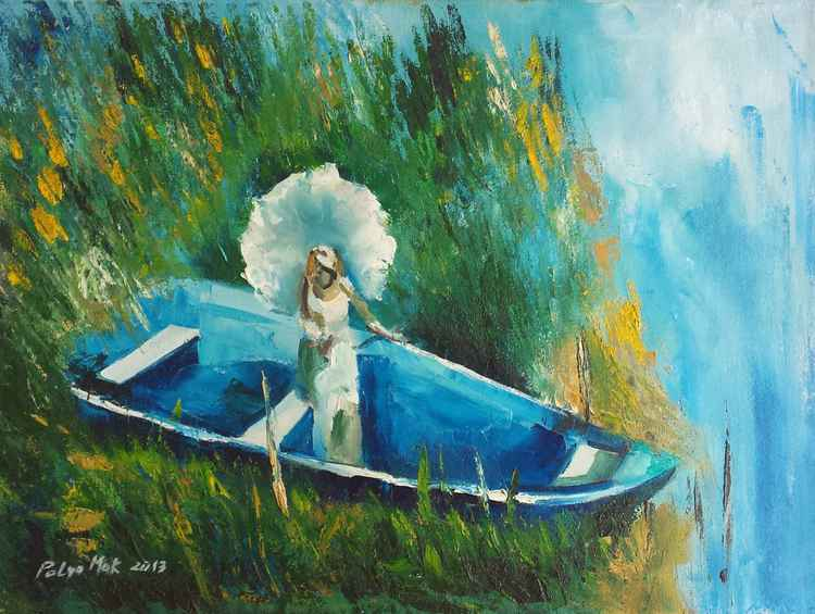 Lady on the lake. -