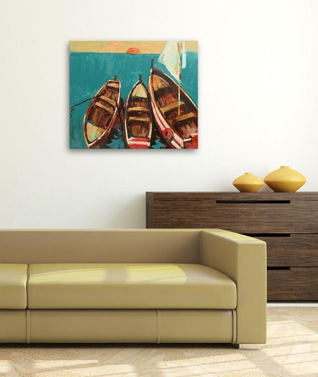 Boats at sunrise painting Seascape art original oil painting - Image 0
