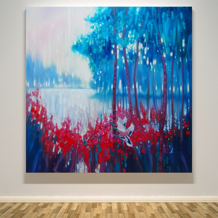 Kings of September - a large expressionist landscape with lake, trees and ducks - Image 0