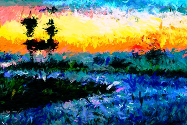 """At the Countryside 42 - Large - One of a Kind Artwork - Premium Print on Forex Board - 23.62 x 15.75"""" - Image 0"""