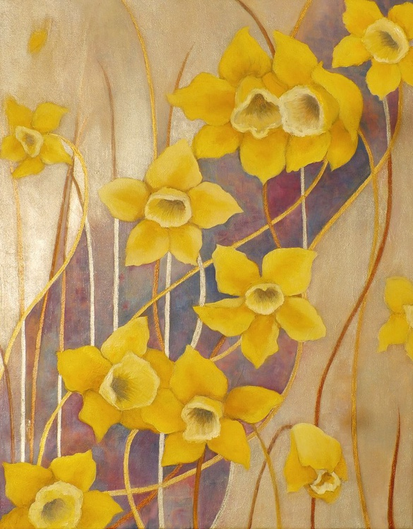Yellow narcissus in silver space - Image 0