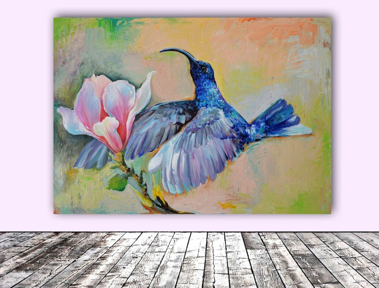 Hummingbird Hug - Blue Hummingbird and Magnolia Flowers Painting, Ready To Hang Modern Oil Painting - Image 0