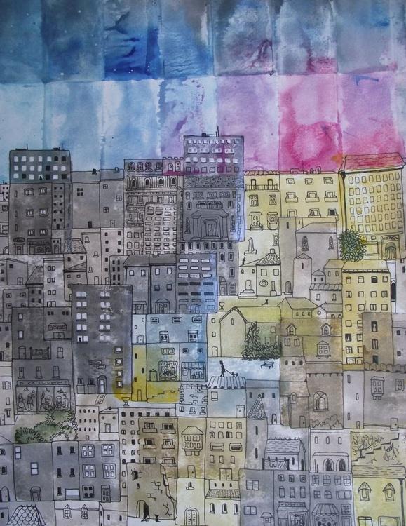 Tumbling Houses - City Sunset - Image 0