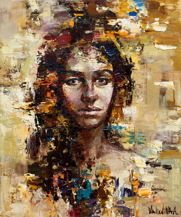 Abstract girl portrait painting #2, Original oil painting - Image 0