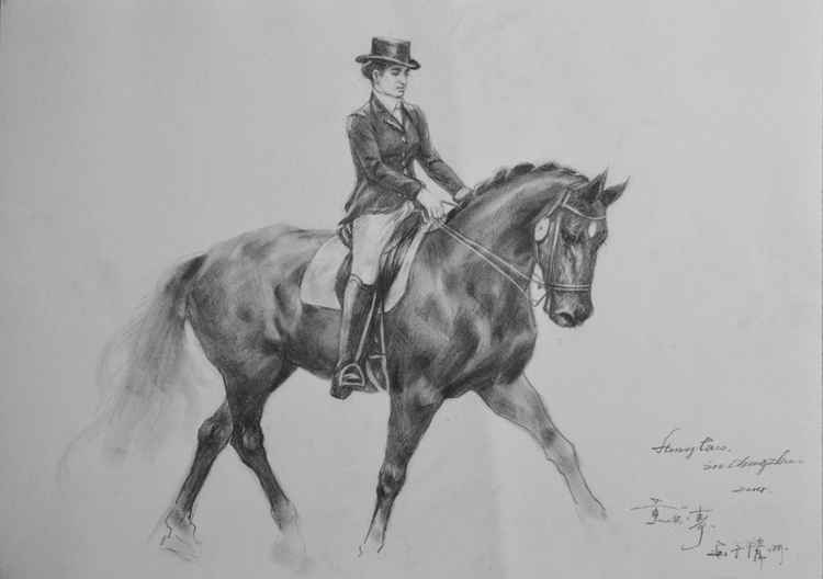 original art drawing charcoal lady and horse man  on paper #16-4-13-07 -