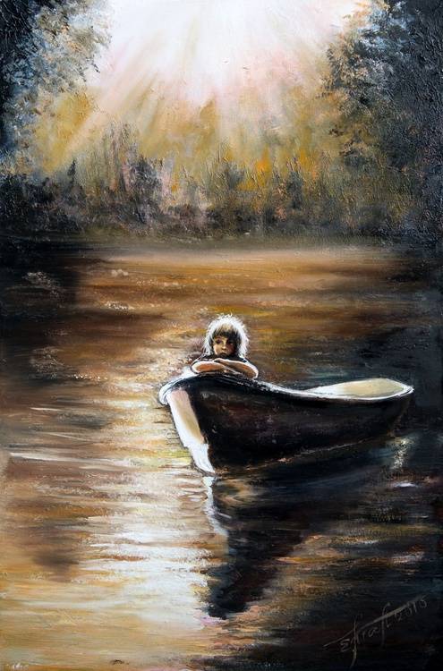 """""""Small journey"""",original oil und acrylic  palette knife  painting 60x90cm, ready to hang - Image 0"""