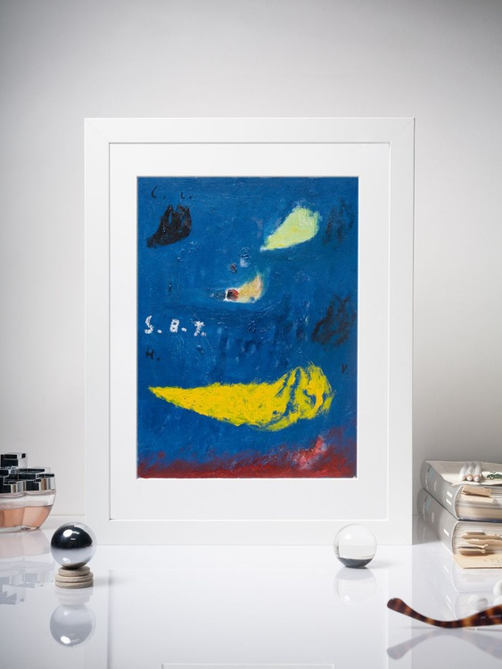 series Blue Hotel - S.B.T.,  Abstract Expressionism Painting, Mounted 30x40cm - Image 0