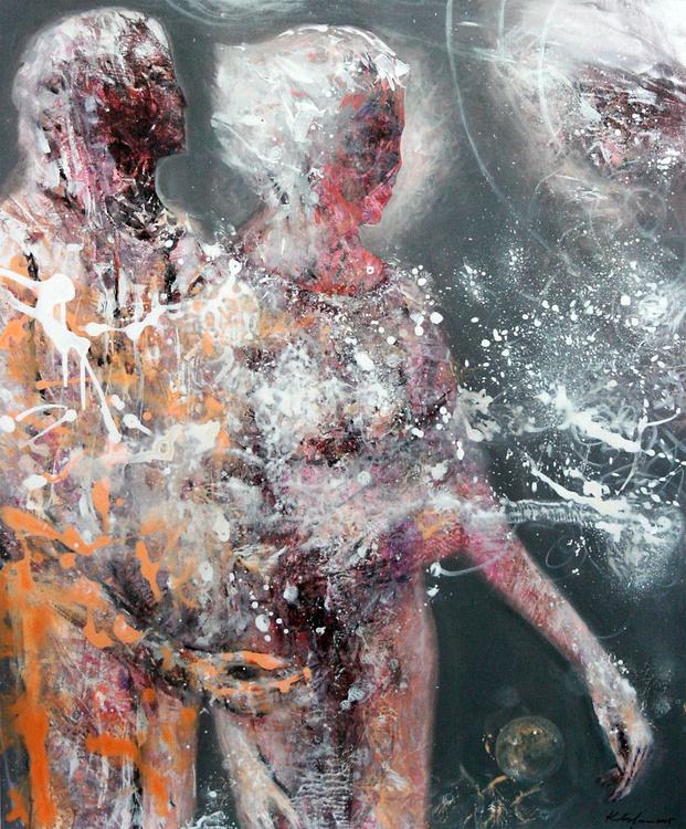 LARGE BEAUTIFUL LOVE COUPLE ANCESTRAL WEDDING COSMIC ADAM AND EVE BODIES LIKE STAR DUST BY KLOSKA - Image 0