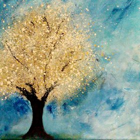 "Golden Tree // Abstract Impressionism Painting // 12x12"" Canvas by Jessica Sanders"