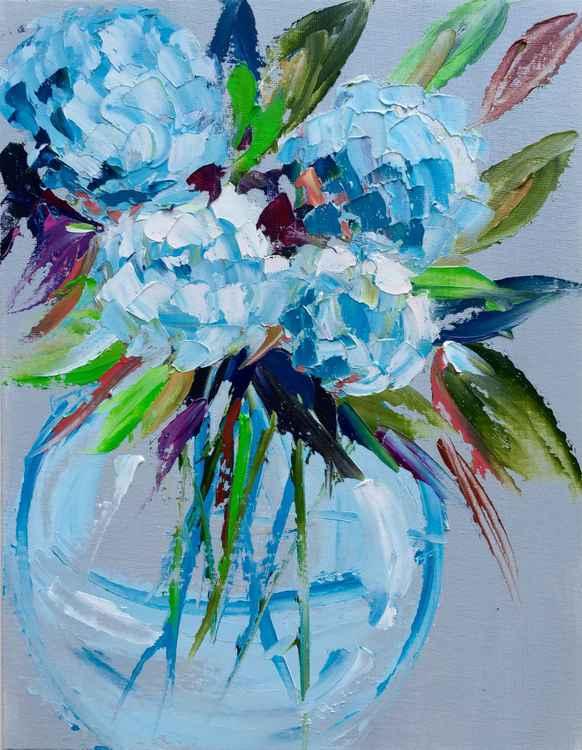 """Vase of Hydrangeas 14""""x11"""""""
