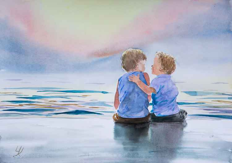"""Brothers"", original watercolour painting, 20""x 14.2""(50x35cm) -"