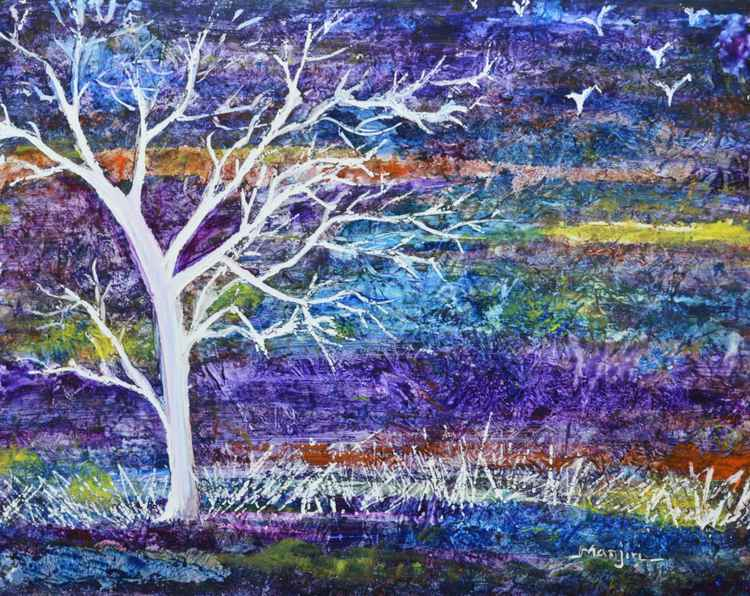 Purple Landscape Abstract tree -