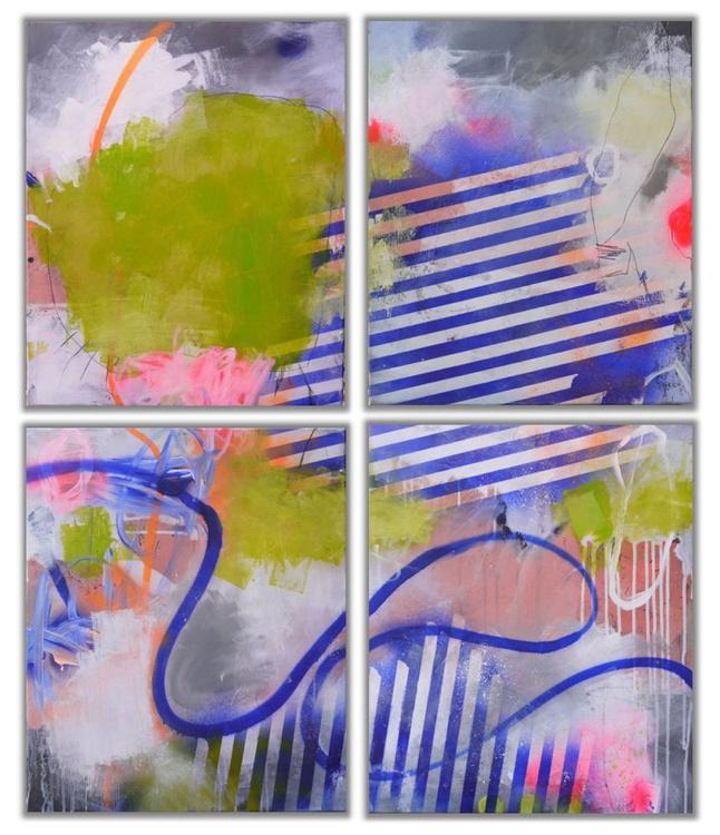 Wonderland #3 | large abstract | Quadtriptych | white grey blue green orange pink | Work No. 2016.44 - Image 0