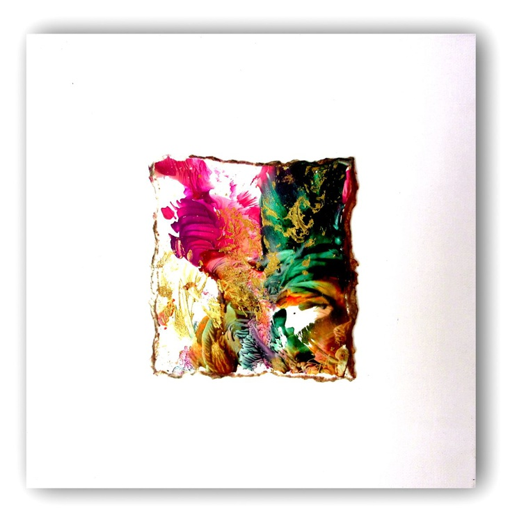 """small encaustic abstract color spot mounted on 12x12"""" gallery canvas - Image 0"""