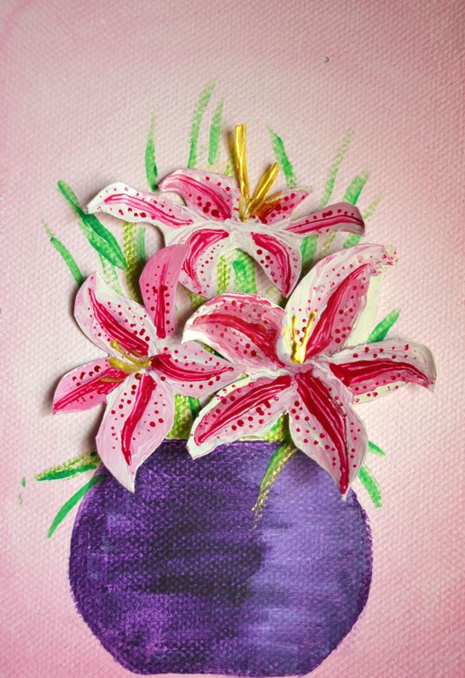 Art from trash- Pink lilies - Image 0