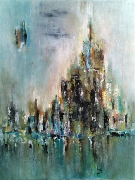Abstract Cityscape Canvas Painting - Contemporary Acrylic Original Painting - Image 0
