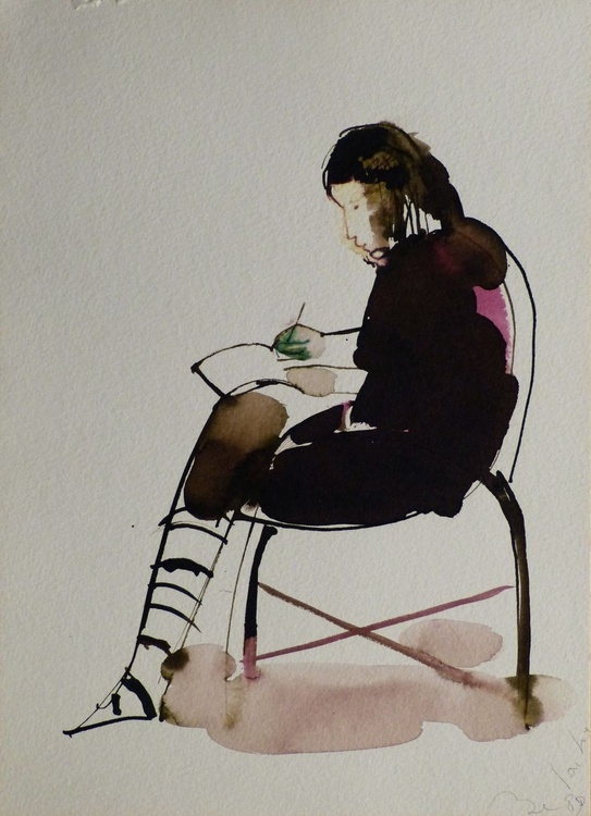 Woman writing a Letter, ink drawing, life study for a painting, 21x29 cm - Image 0