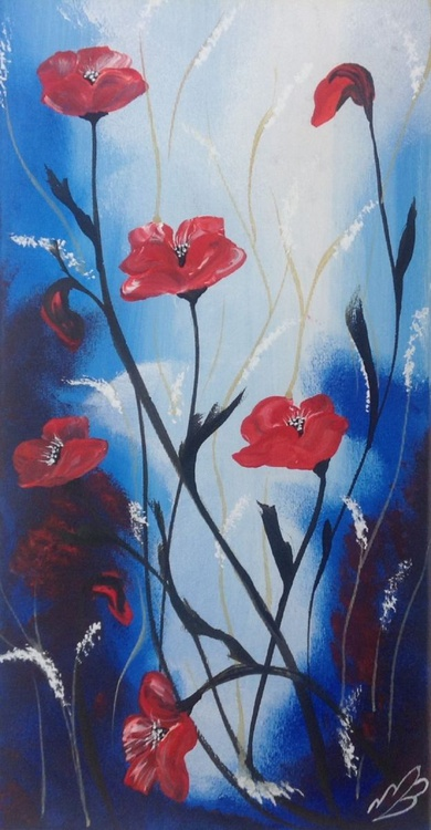 Red Poppies against a blue sky - Image 0