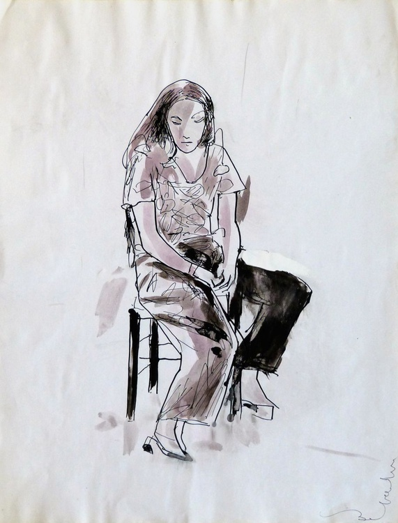 Sitting woman #11, 30x39 cm - Image 0