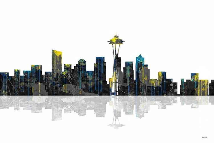 Seattle Washington Skyline BW1 -