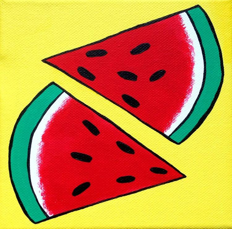 Watermelon Pop Art Acrylic Paint On Small Canvas - Image 0