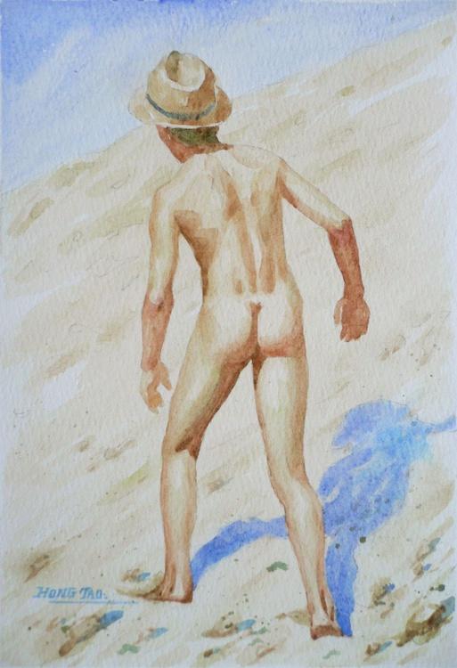 original watercolour painting  boy on paper#16-9-21 - Image 0