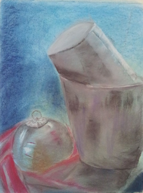 Bauble and ladles original pastel drawing - Image 0