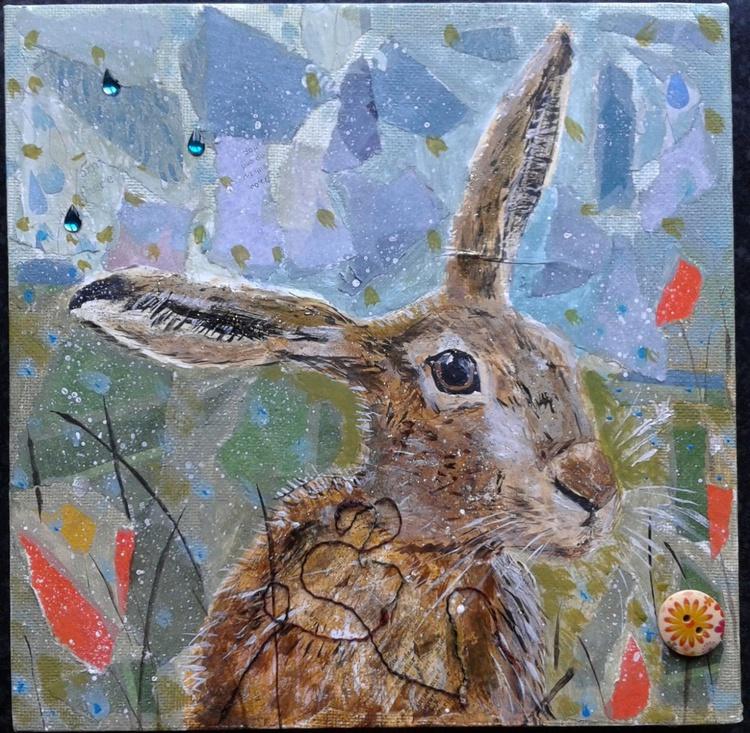 Hare in poppy field - Image 0