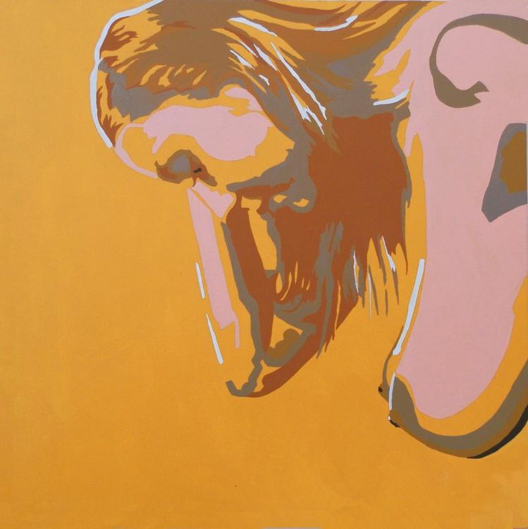Nude Art Standing Female Nude In Warm Yellow Original Acrylic Painting Figure Study - Image 0
