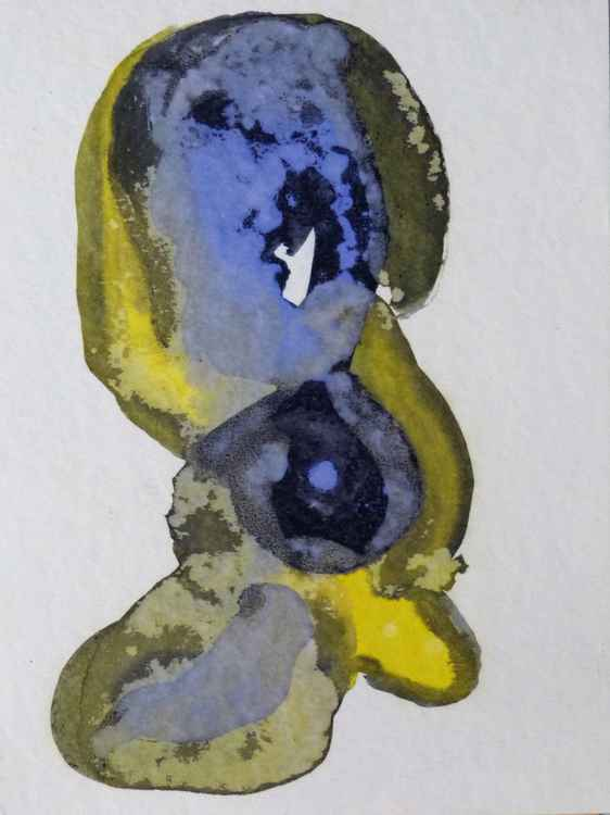 Small Abstract Drawing #28 - Blue Puppy, 18x24 cm -