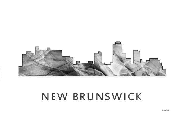 New Brunswick New Jersey Skyline WB BW -