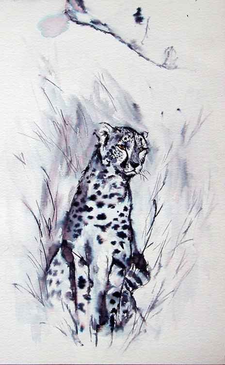 Cheetah / Ink painting -