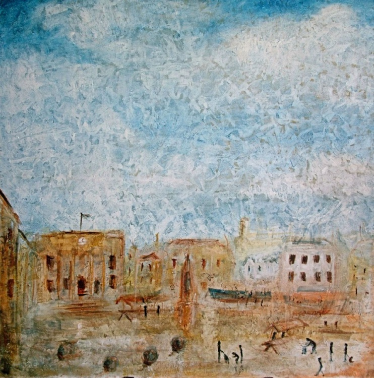 View of the Market (Oil on canvas 39x39 inch) - Image 0